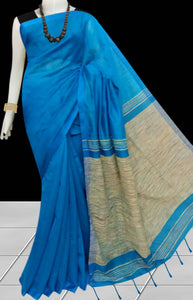 Delightful ocean blue color soft moklin handloom saree