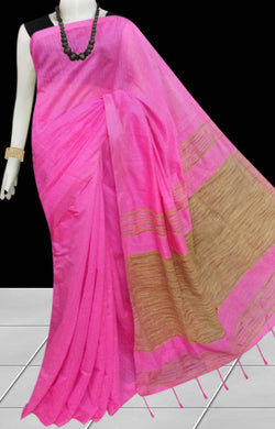 Delightful pink color soft moklin handloom saree