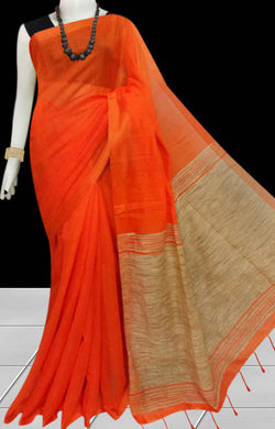 Delightful orange color soft moklin handloom saree