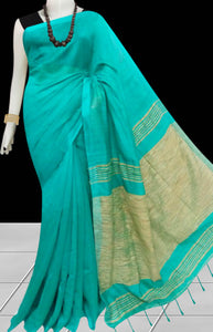 Pleasant sea green color soft moklin handloom saree