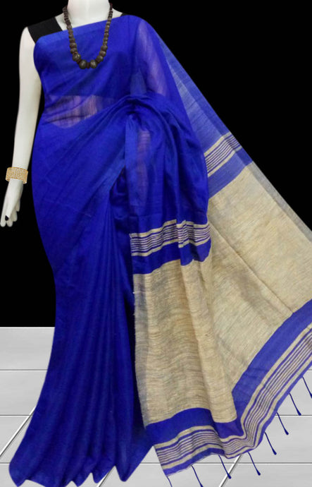 Elegant blue color soft moklin handloom saree