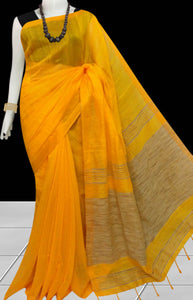 Elegant yellow color soft moklin handloom saree