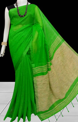 Stylish green color soft moklin handloom saree