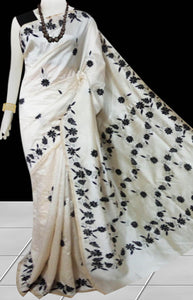 Cream Color Malai silk saree decorated with Black color Hand embroidery