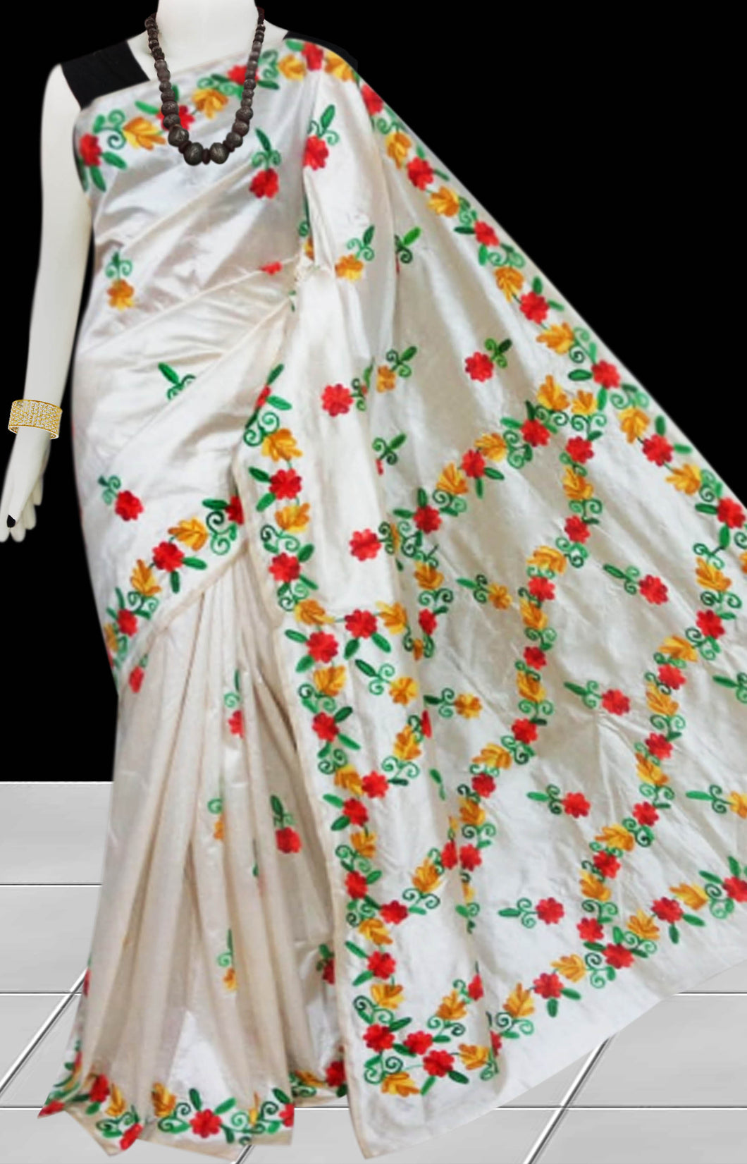 Cream Color Malai silk saree decorated with red, yellow & green color Hand embroidery