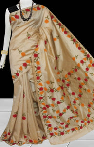 Dark beige Color Malai silk saree decorated with Orange & Red color Hand embroidery