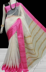 Elegant look white cotton silk handmade saree, ghicha work, light pink nayal border