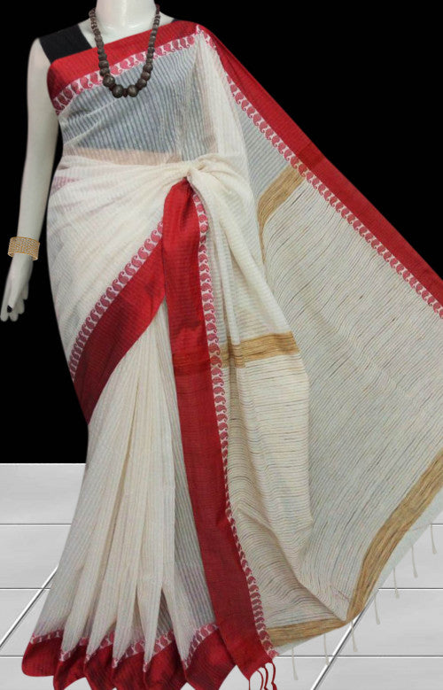 Fascinate white cotton silk saree, red nayal border