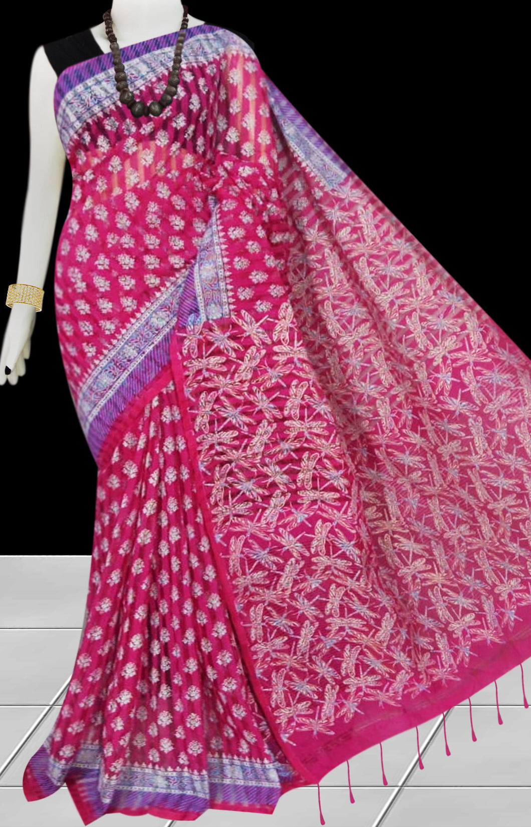 Pink & White color Pure Handloom noil cotton silk saree
