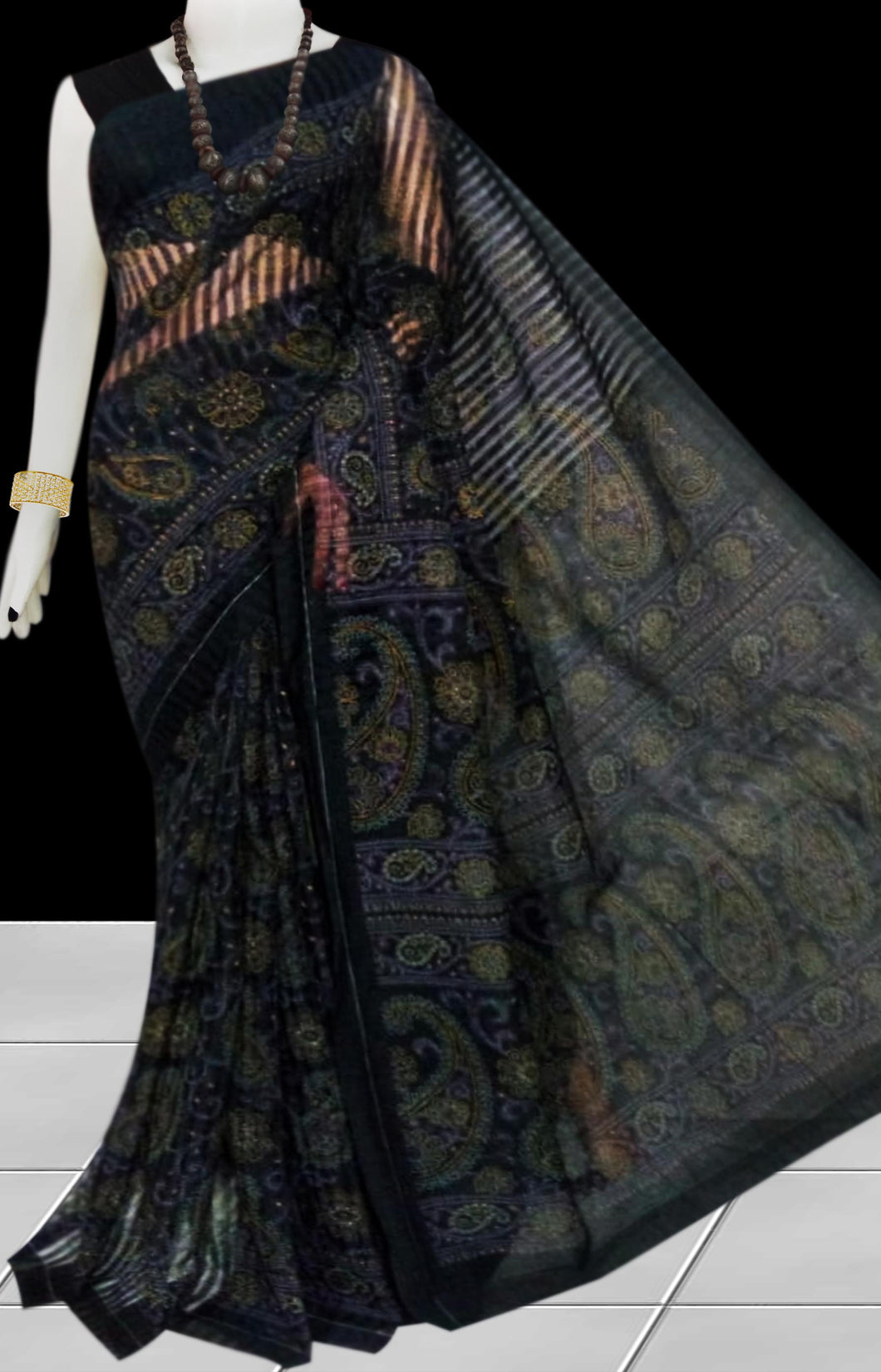 Black color Pure Handloom noil cotton silk saree