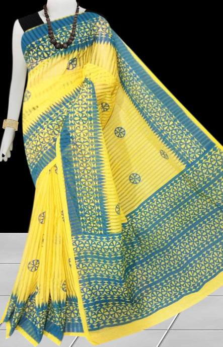 Blue & Yellow color Pure Handloom noil cotton silk saree