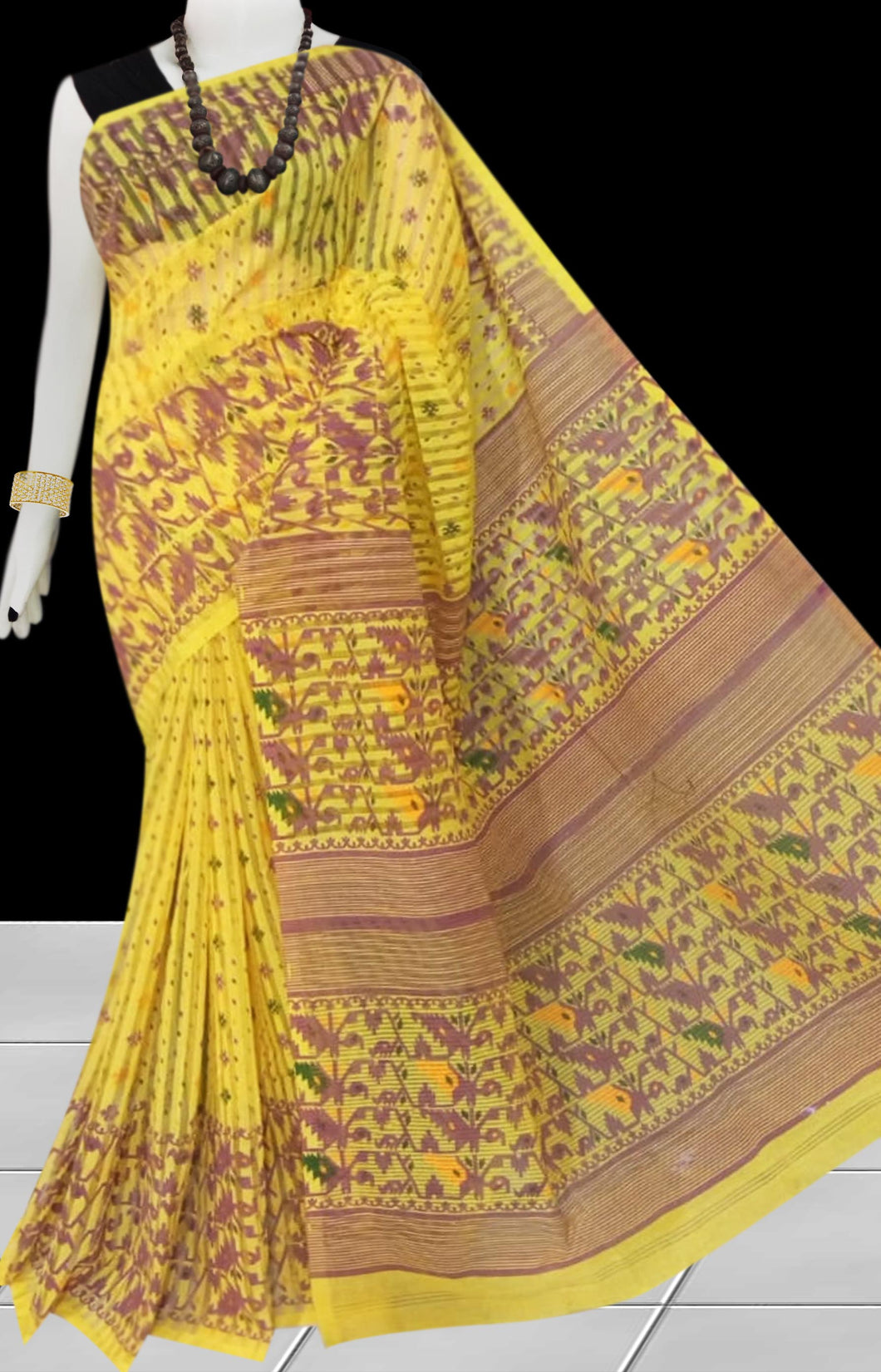 Brown & Yellow color Pure Handloom noil cotton silk saree