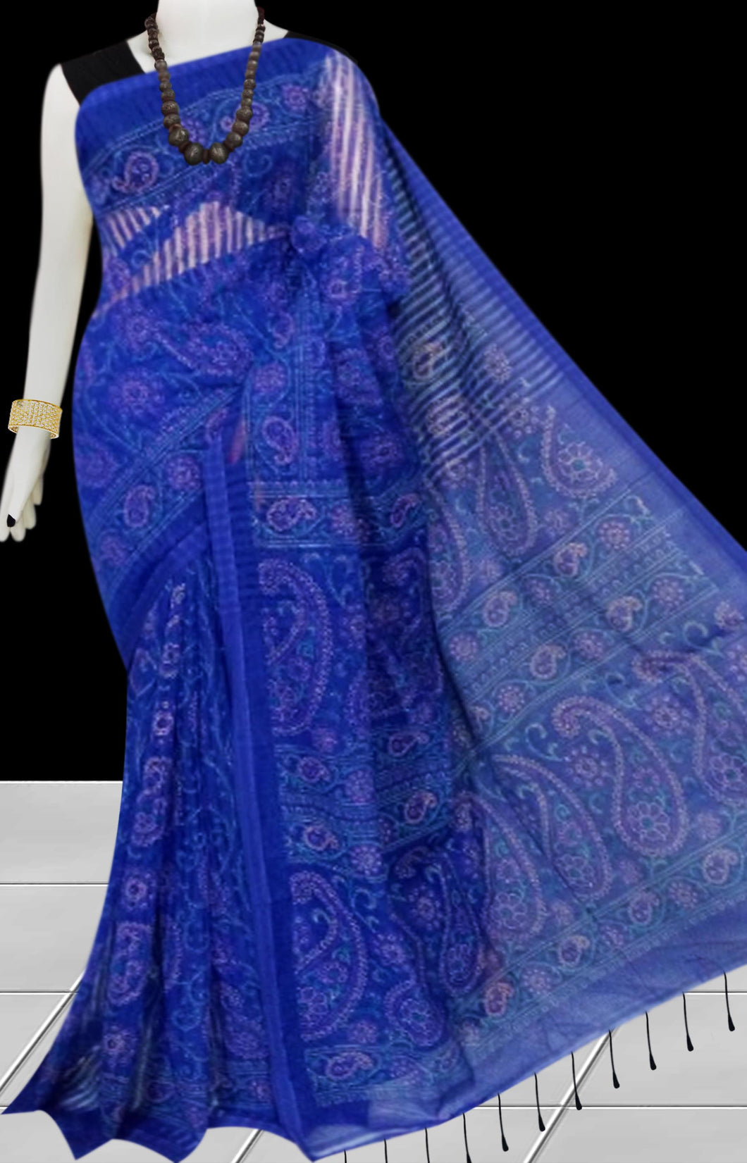 Blue color Pure Handloom noil cotton silk saree with full body block print