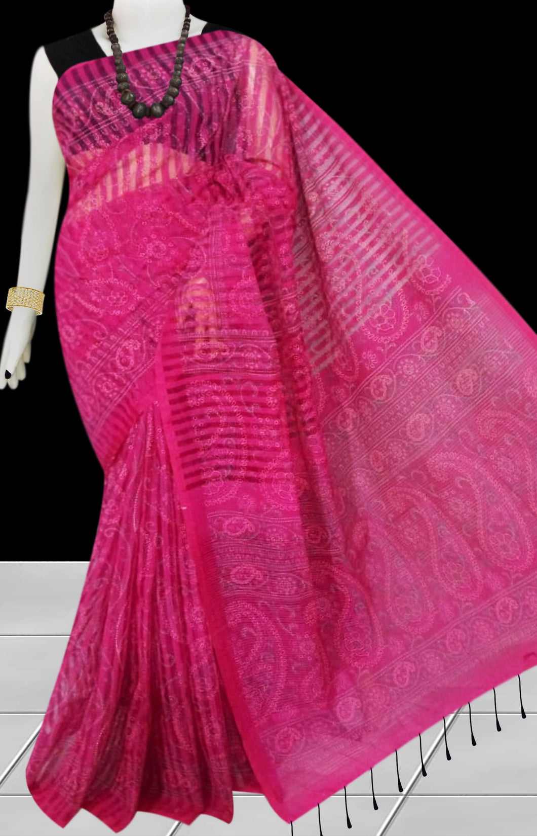 Rani color Pure Handloom noil cotton silk saree