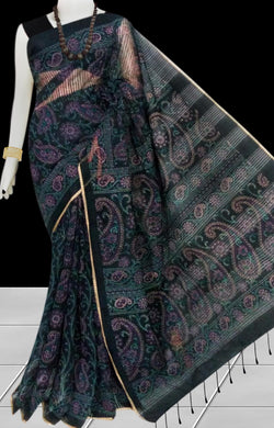 Green & Black color Pure Handloom noil cotton silk saree