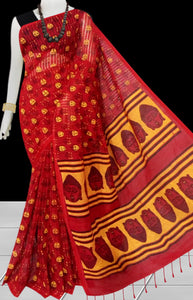 Red & Yellow color Pure Handloom noil cotton silk saree