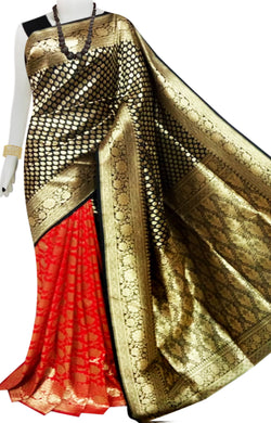 Bursana Red & black color Opara Silk saree