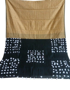 Beige and black color combination cotton silk saree, decorated with pompom