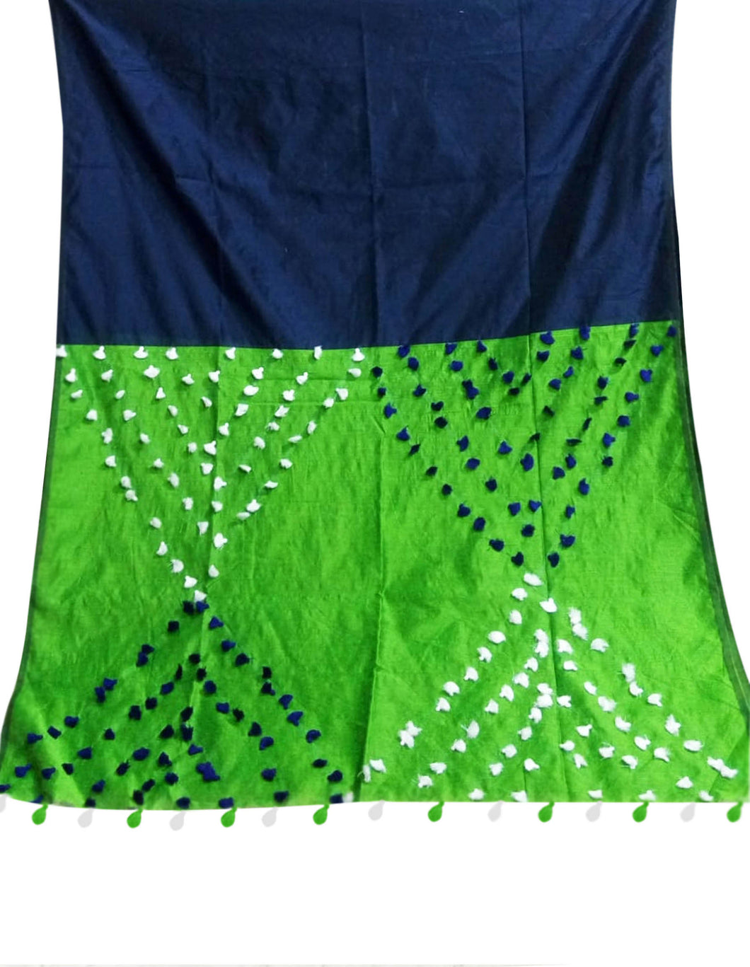 Navy Blue & Green color combination cotton silk saree, decorated with pompom