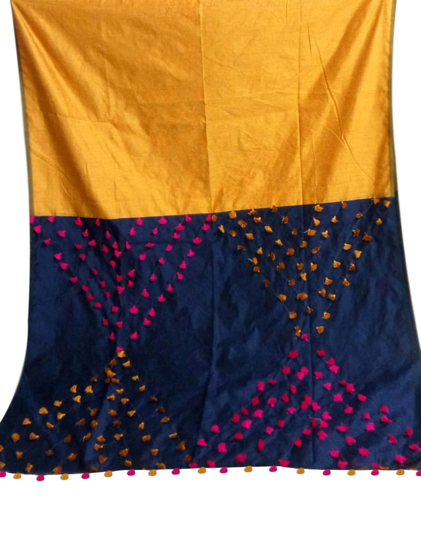 Yellow & Navy Blue color combination cotton silk saree, decorated with pompom
