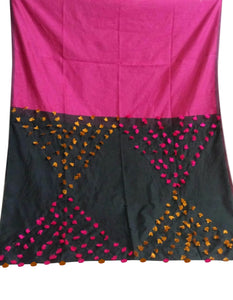 Pink & Black color combination cotton silk saree, decorated with pompom