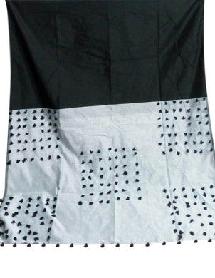 Black & Gray color combination cotton silk saree, decorated with pompom