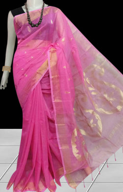 Lovely pink color pure Resham silk saree