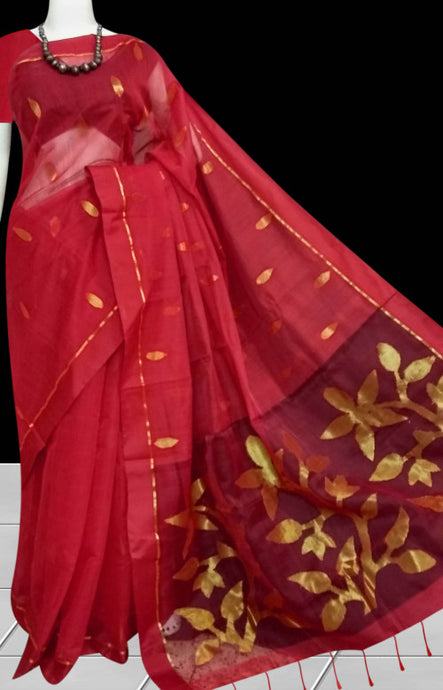 Red color pure Resham silk and linen thread mixed saree
