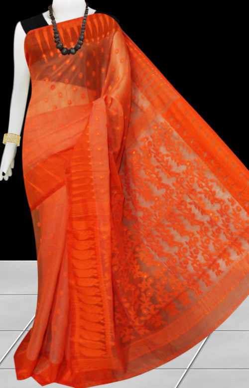 Orange color base soft dhakai Jamdani cotton saree with jamdani work