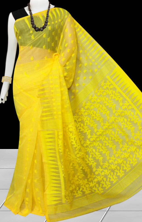 Yellow color base soft dhakai Jamdani cotton saree with jamdani work