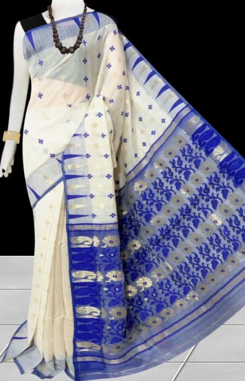 Cream color base soft dhakai Jamdani cotton saree with jamdani work