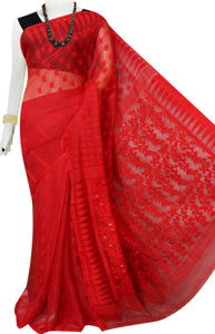 Red color base soft dhakai Jamdani cotton saree with jamdani work