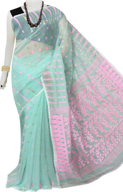 Light cyan base soft dhakai Jamdani cotton saree with jamdani work