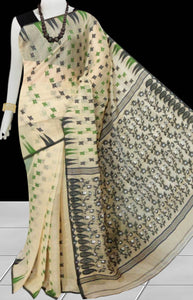 Cream Color Dhakai Jamdani Saree