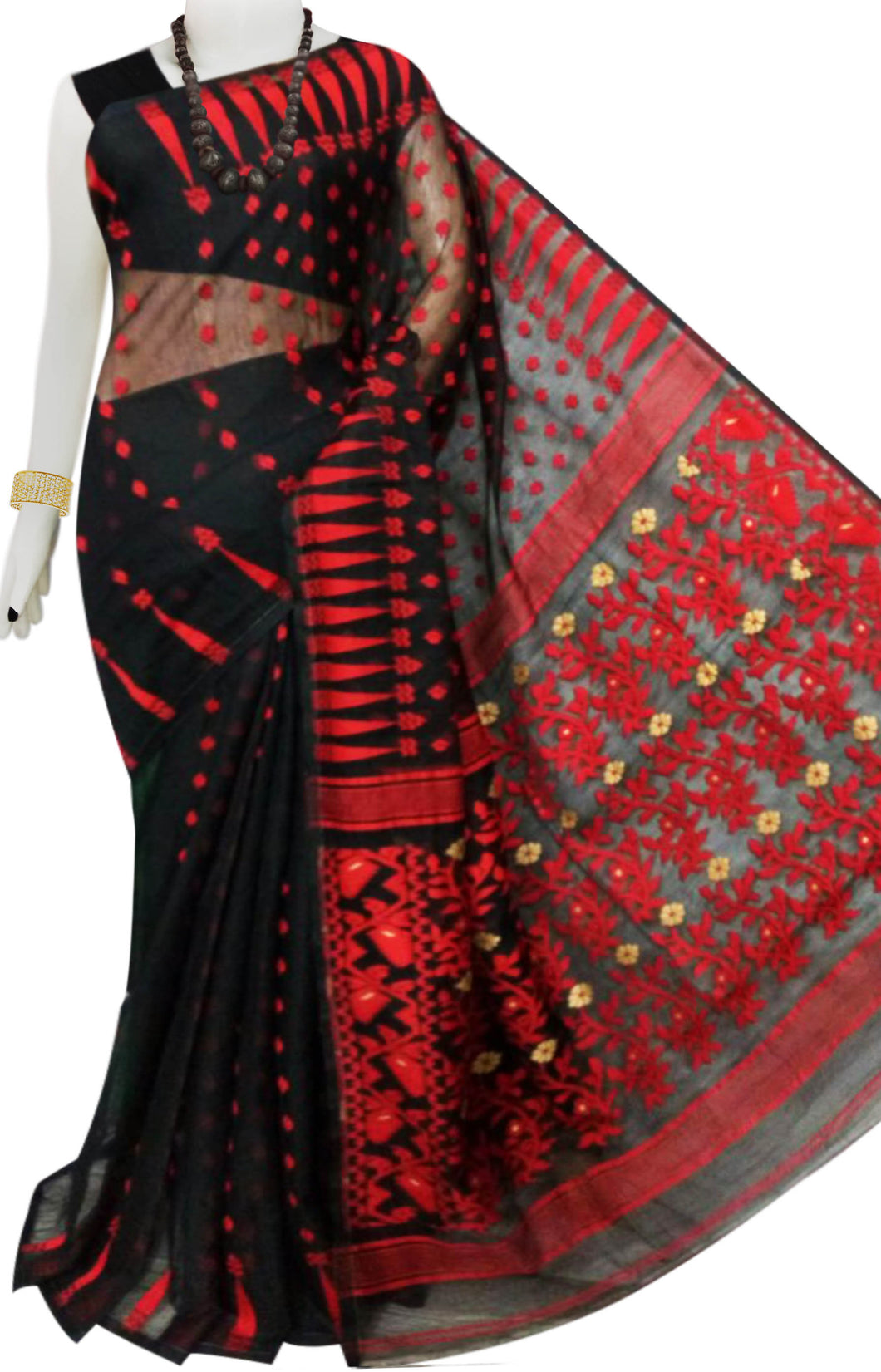 Black color base soft dhakai Jamdani cotton saree with jamdani work