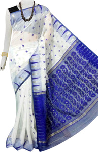 White and blue color combination soft dhakai Jamdani cotton saree with jamdani work