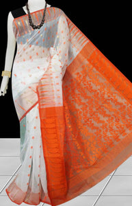 White and orange color combination soft dhakai Jamdani cotton saree with jamdani work