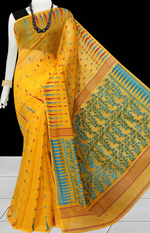 Turmeric yellow color base soft dhakai Jamdani cotton saree with multicolor jamdani work