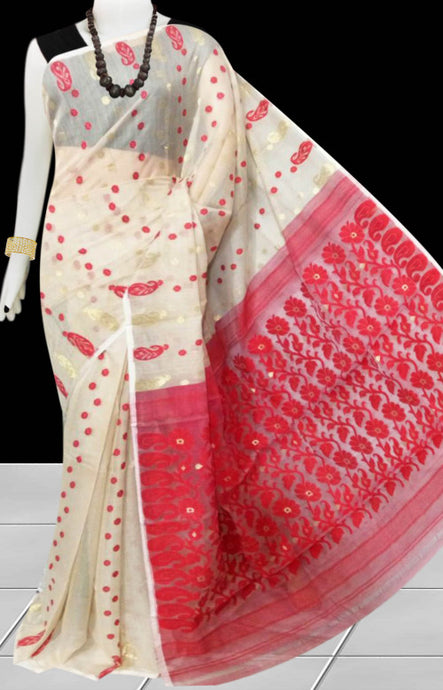 Cream and red color combination soft dhakai Jamdani cotton saree with jamdani work