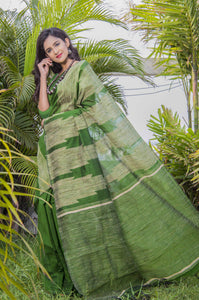 Grassy green color cotton ghicha temple work handmade saree