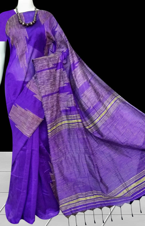 Decent purple blue color cotton ghicha temple works handloom saree