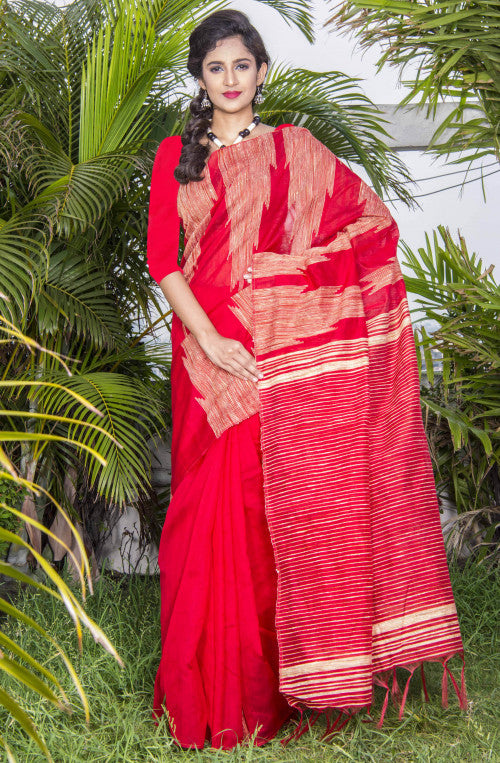 Hot red color ghicha temple work silk cotton handmade saree