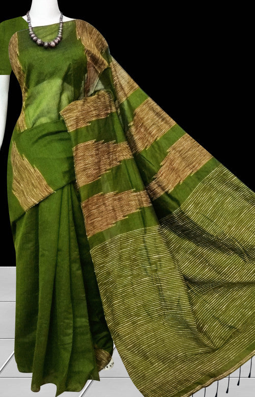Grassy green color cotton ghicha temple works handloom saree