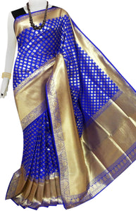 Bursana Royal Blue color Opara Silk saree