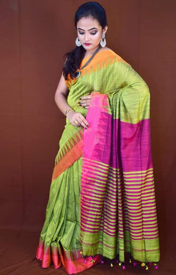 Beautiful color combination cotton hand-finished saree