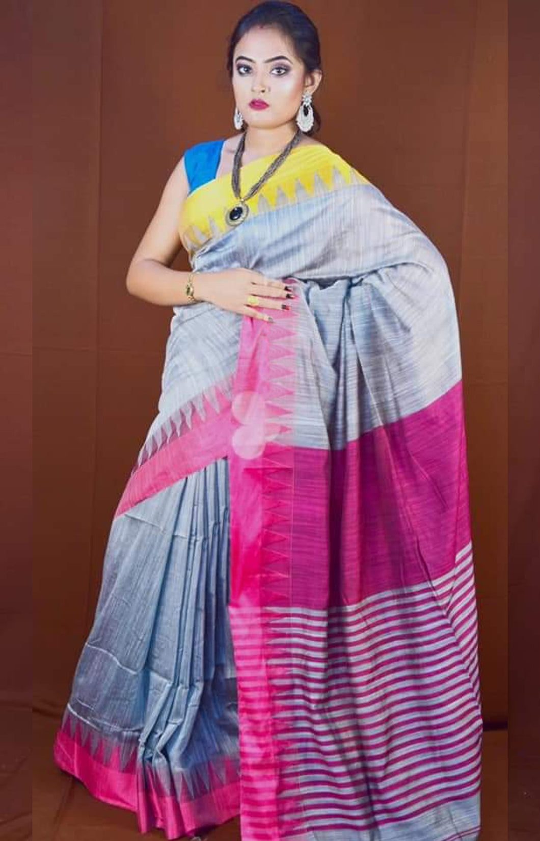Grey Color Cotton Hand Finished saree