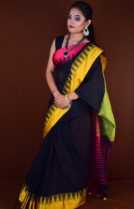 Black Yellow cotton hand finished saree