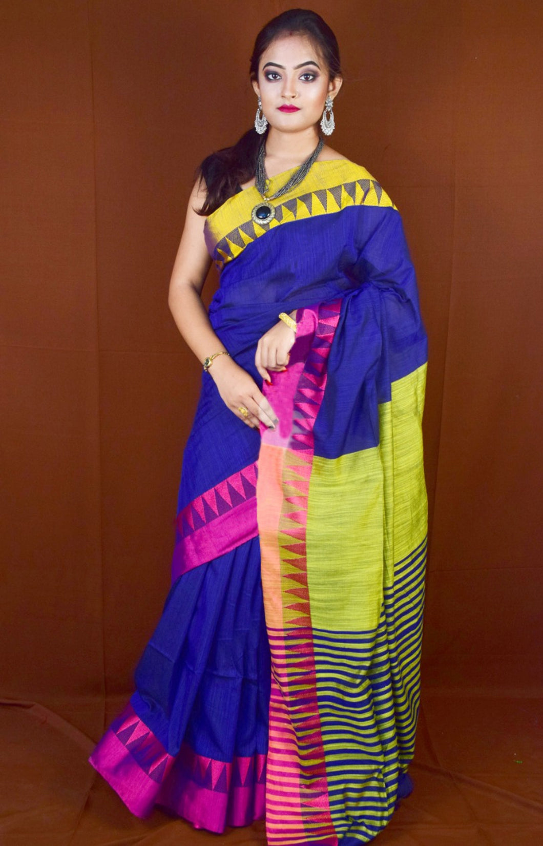 Blue colore cotton hand finished  saree