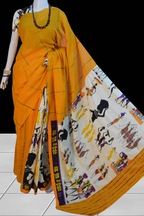Turmeric yellow color mulmul khesh cotton handmade saree