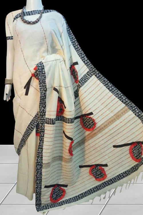 White color Khesh cotton Mulmul saree